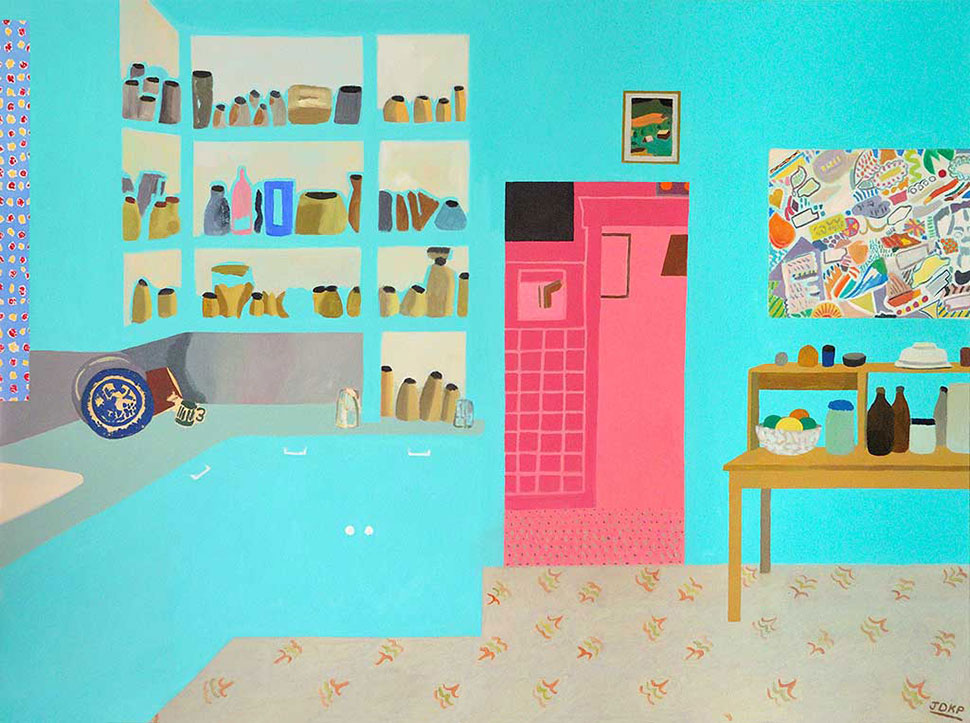 Kitchen, Blue and Pink